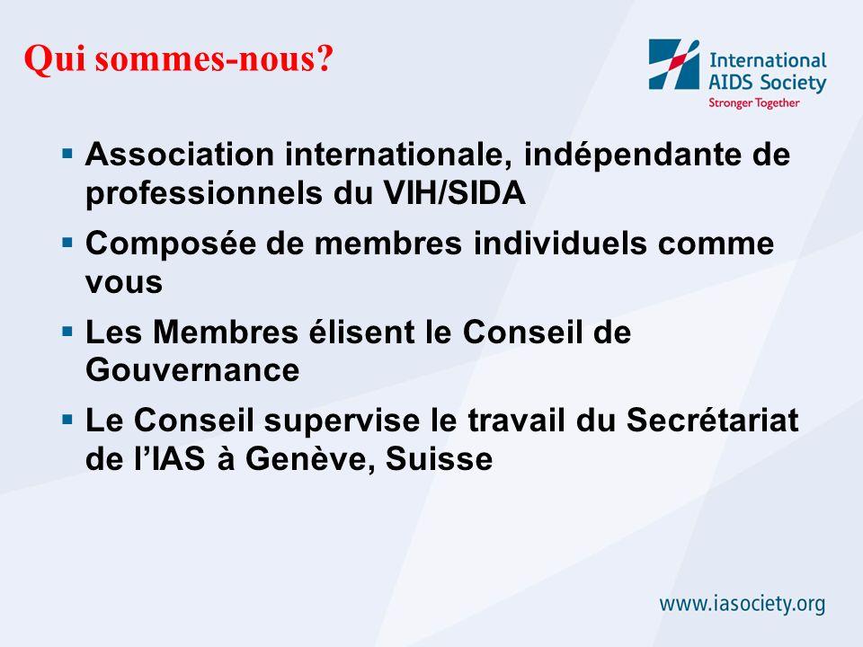 Qui sommes-nous? Association internationale, indépendante de professionnels du VIH/SIDA Composée de membres individuels comme vous Les Membres élisent