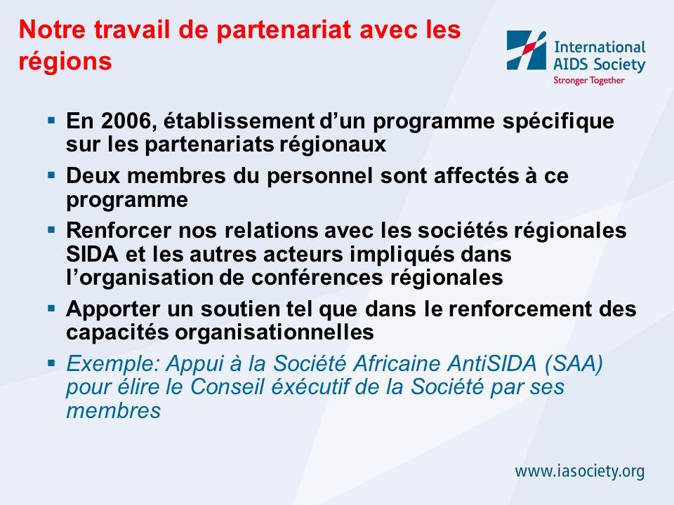 Notre travail de partenariat avec les régions En 2006, établissement dun programme spécifique sur les partenariats régionaux Deux membres du personnel