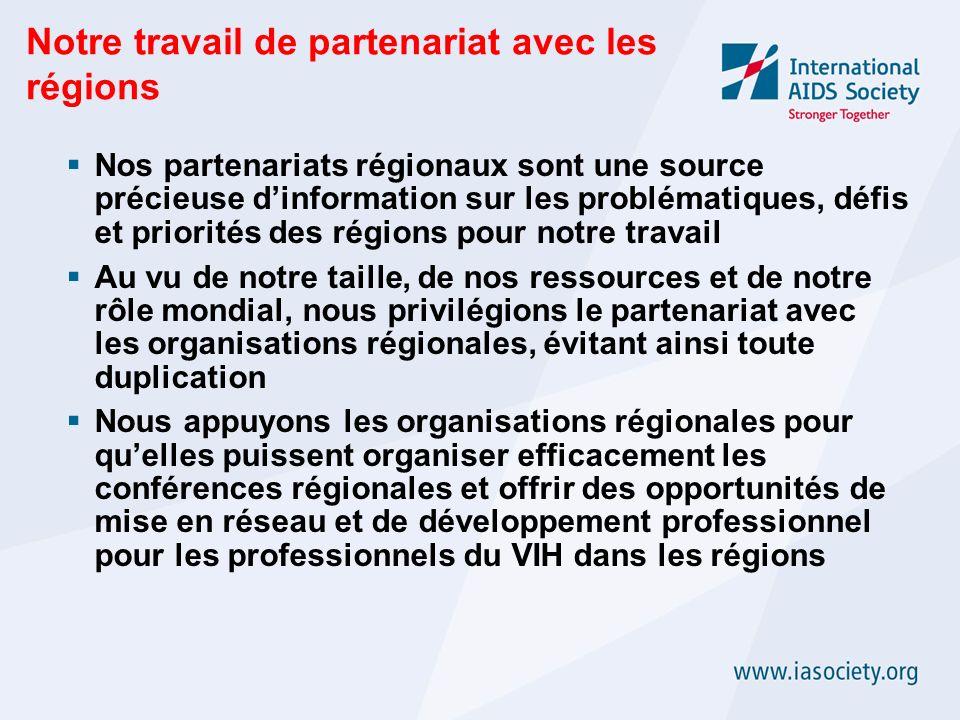 Notre travail de partenariat avec les régions Nos partenariats régionaux sont une source précieuse dinformation sur les problématiques, défis et priorités des régions pour notre travail Au vu de notre taille, de nos ressources et de notre rôle mondial, nous privilégions le partenariat avec les organisations régionales, évitant ainsi toute duplication Nous appuyons les organisations régionales pour quelles puissent organiser efficacement les conférences régionales et offrir des opportunités de mise en réseau et de développement professionnel pour les professionnels du VIH dans les régions