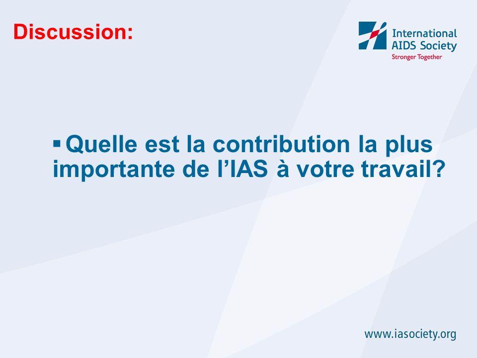 Discussion: Quelle est la contribution la plus importante de lIAS à votre travail?