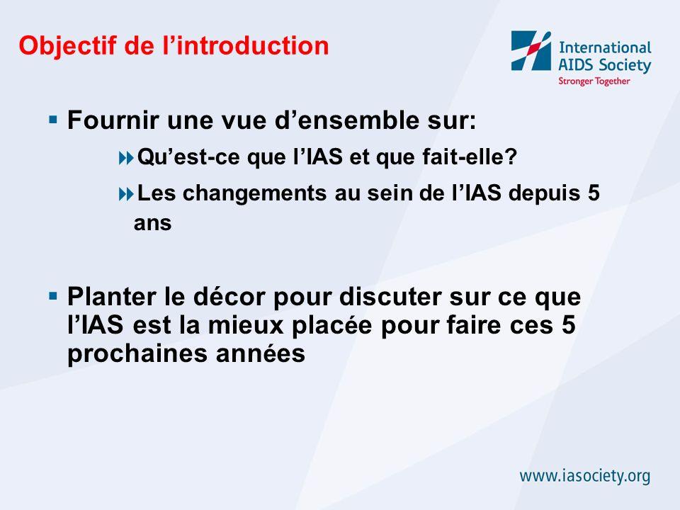 Objectif de lintroduction Fournir une vue densemble sur: Quest-ce que lIAS et que fait-elle? Les changements au sein de lIAS depuis 5 ans Planter le d