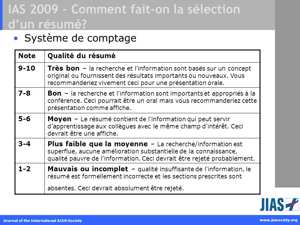 Journal of the International AIDS Society www.jiasociety.org IAS 2009 – Comment fait-on la sélection dun résumé? Système de comptage NoteQualité du ré