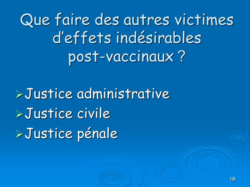 19 Que faire des autres victimes deffets indésirables post-vaccinaux ? Justice administrative Justice administrative Justice civile Justice civile Jus