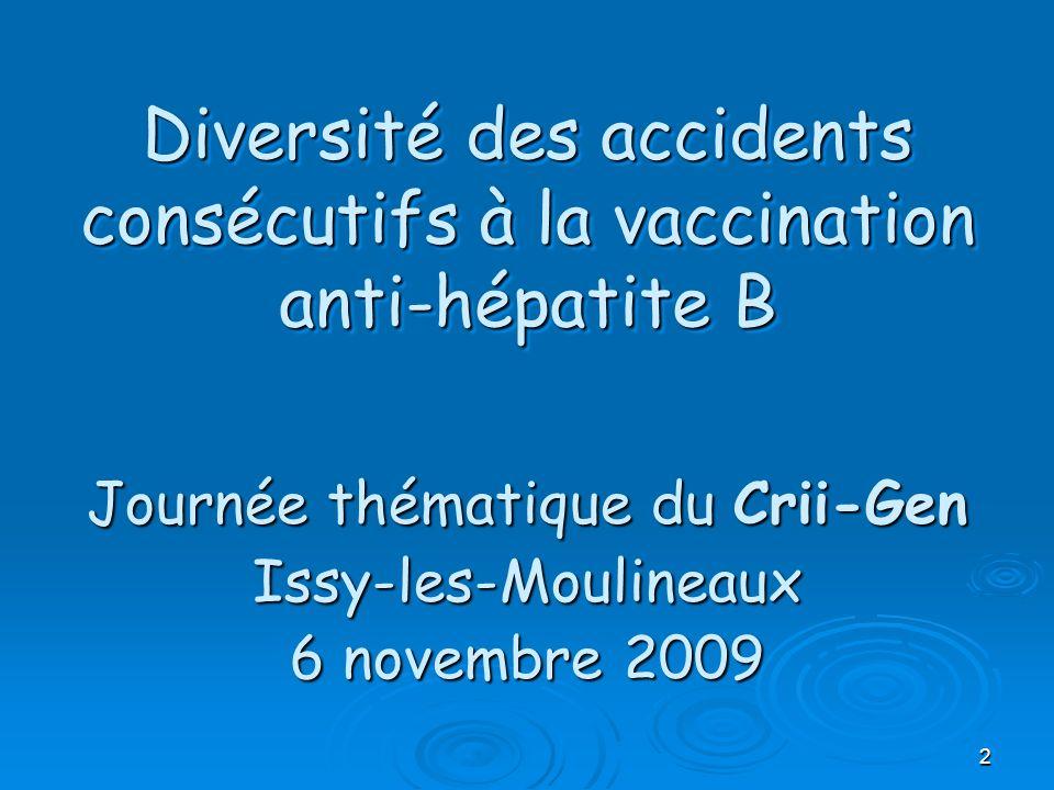 2 Diversité des accidents consécutifs à la vaccination anti-hépatite B Journée thématique du Crii-Gen Issy-les-Moulineaux 6 novembre 2009