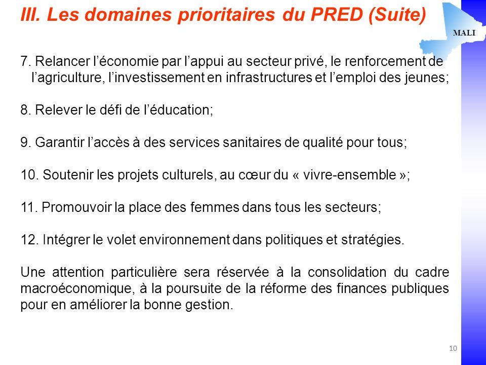 10 MALI III. Les domaines prioritaires du PRED (Suite) 7.
