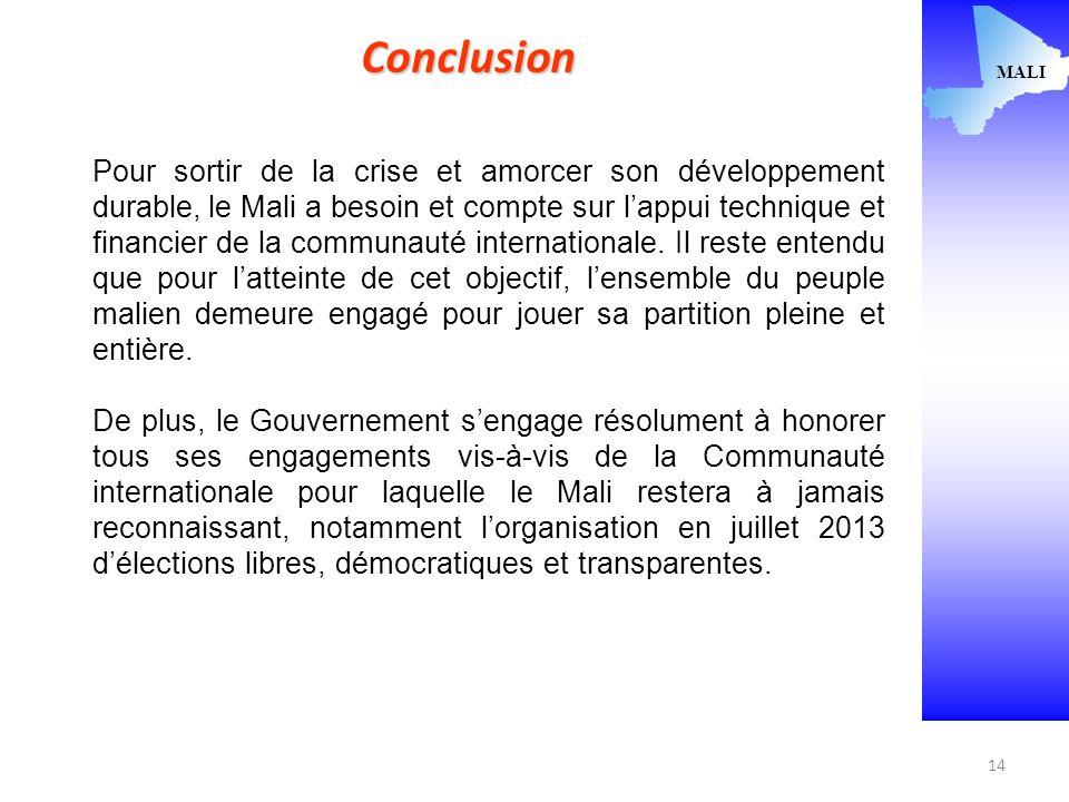 14 MALI Conclusion Pour sortir de la crise et amorcer son développement durable, le Mali a besoin et compte sur lappui technique et financier de la communauté internationale.
