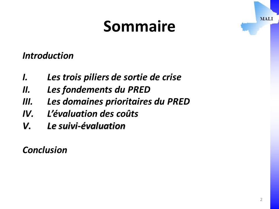 2 Sommaire Introduction I.Les trois piliers de sortie de crise II.Les fondements du PRED III.Les domaines prioritaires du PRED IV.Lévaluation des coûts V.Le suivi-évaluation Conclusion MALI 2