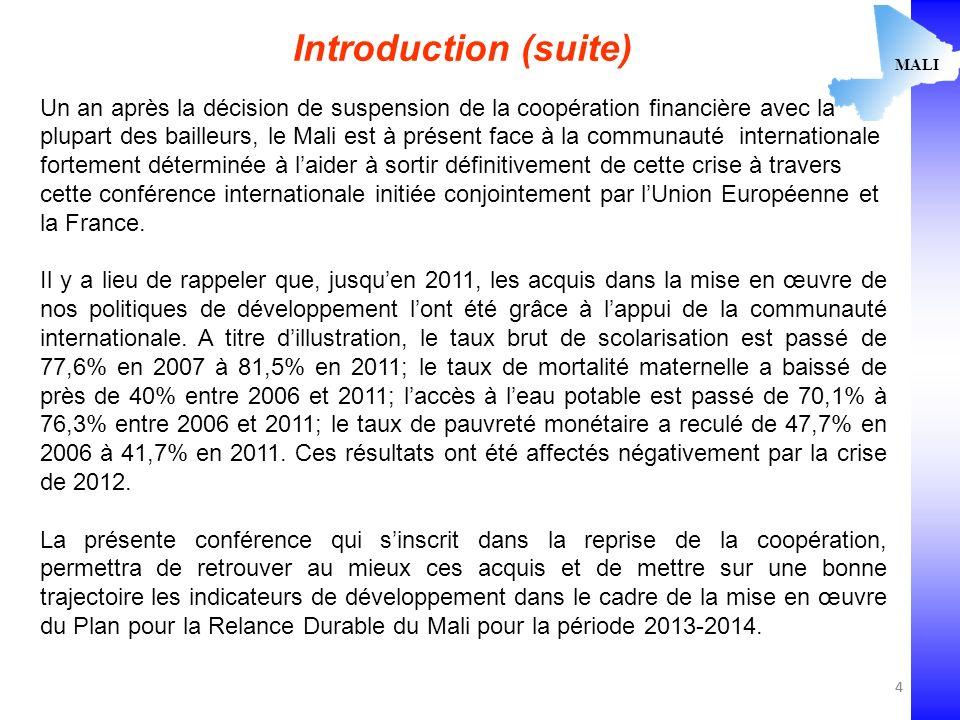 4 MALI Introduction (suite) Un an après la décision de suspension de la coopération financière avec la plupart des bailleurs, le Mali est à présent face à la communauté internationale fortement déterminée à laider à sortir définitivement de cette crise à travers cette conférence internationale initiée conjointement par lUnion Européenne et la France.
