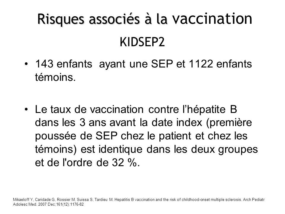 143 enfants ayant une SEP et 1122 enfants témoins. Le taux de vaccination contre lhépatite B dans les 3 ans avant la date index (première poussée de S
