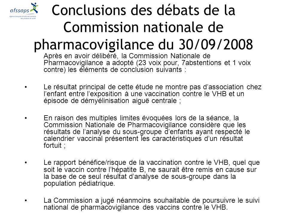 Après en avoir délibéré, la Commission Nationale de Pharmacovigilance a adopté (23 voix pour, 7abstentions et 1 voix contre) les éléments de conclusio