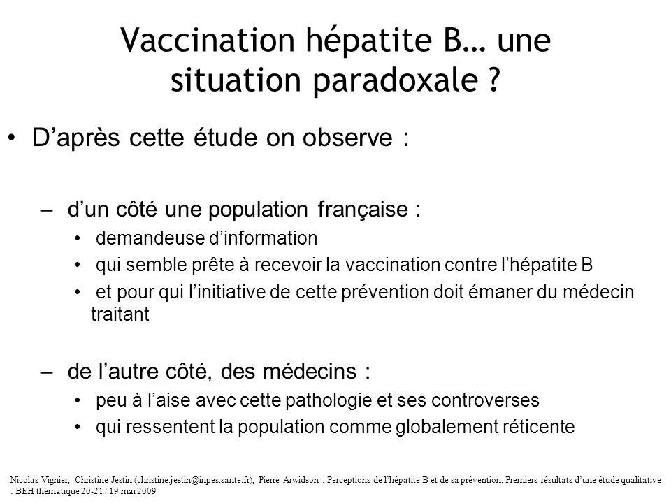 Vaccination hépatite B… une situation paradoxale ? Daprès cette étude on observe : – dun côté une population française : demandeuse dinformation qui s