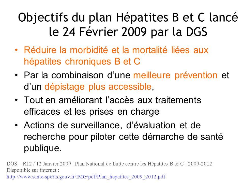 Objectifs du plan Hépatites B et C lancé le 24 Février 2009 par la DGS Réduire la morbidité et la mortalité liées aux hépatites chroniques B et C Par