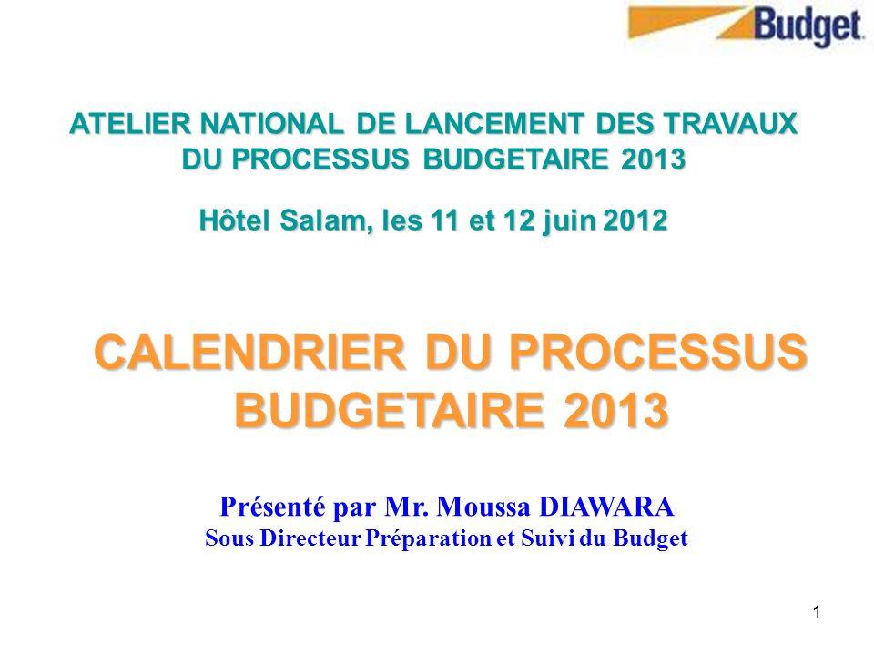 1 CALENDRIER DU PROCESSUS BUDGETAIRE 2013 ATELIER NATIONAL DE LANCEMENT DES TRAVAUX DU PROCESSUS BUDGETAIRE 2013 Hôtel Salam, les 11 et 12 juin 2012 P