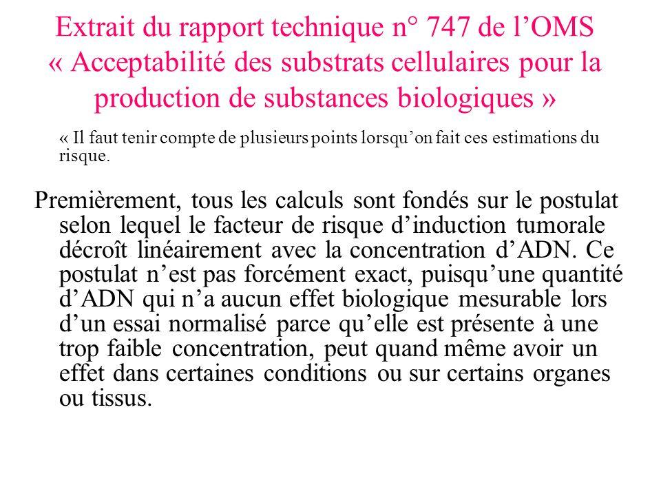 Extrait du rapport technique n° 747 de lOMS « Acceptabilité des substrats cellulaires pour la production de substances biologiques » « Il faut tenir compte de plusieurs points lorsquon fait ces estimations du risque.