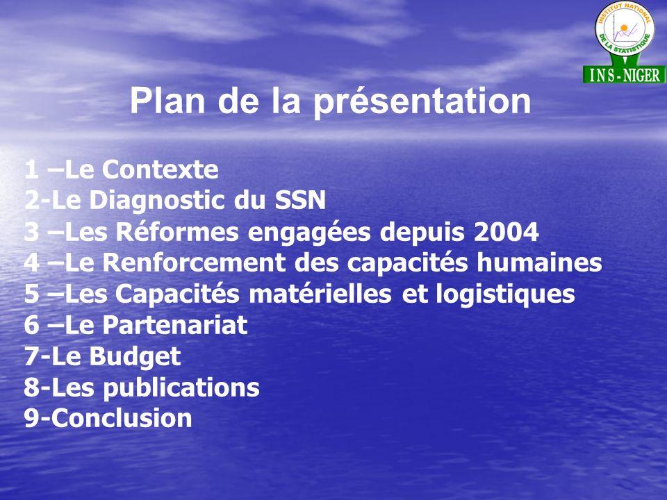 Plan de la présentation 1 –Le Contexte 2-Le Diagnostic du SSN 3 –Les Réformes engagées depuis 2004 4 –Le Renforcement des capacités humaines 5 –Les Capacités matérielles et logistiques 6 –Le Partenariat 7-Le Budget 8-Les publications 9-Conclusion