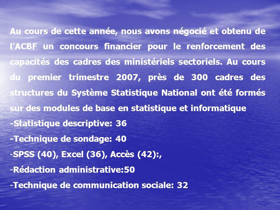Au cours de cette année, nous avons négocié et obtenu de lACBF un concours financier pour le renforcement des capacités des cadres des ministériels sectoriels.