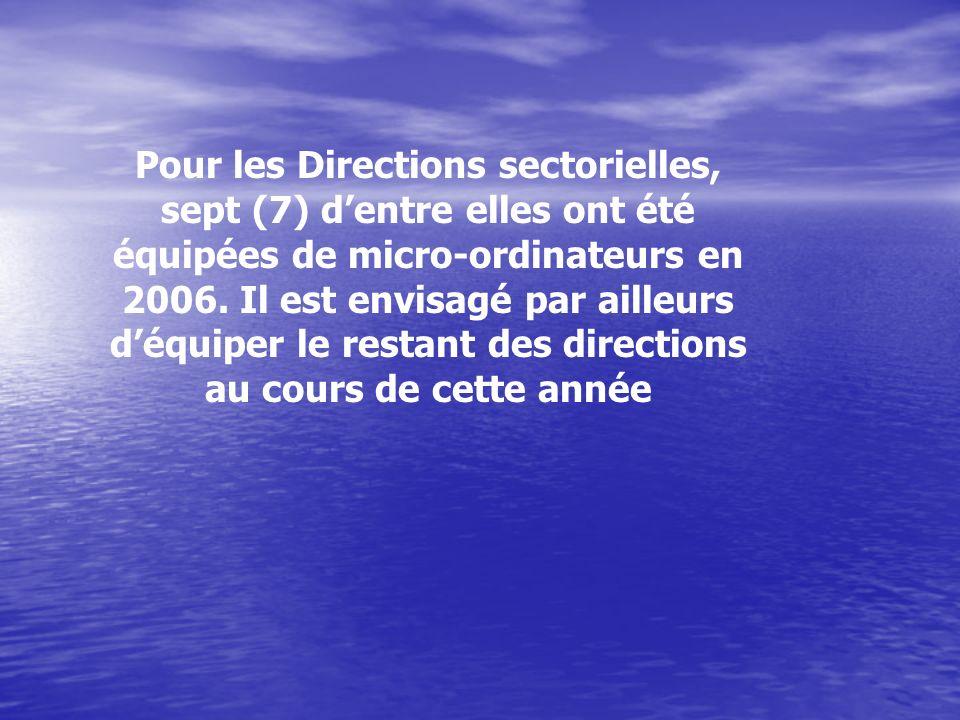 Pour les Directions sectorielles, sept (7) dentre elles ont été équipées de micro-ordinateurs en 2006.