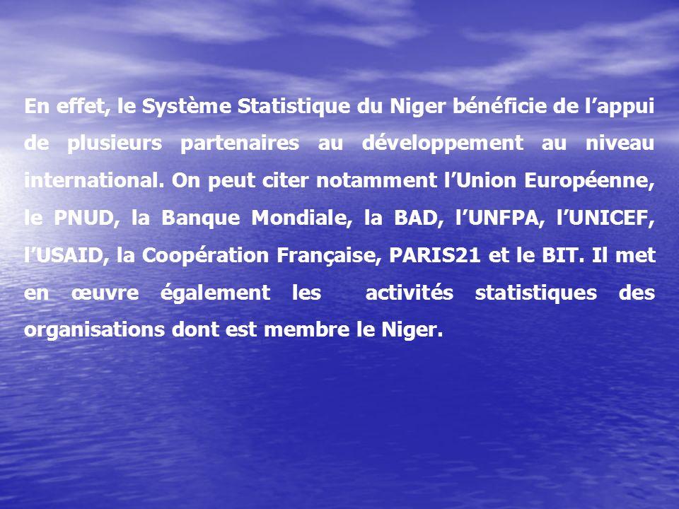 En effet, le Système Statistique du Niger bénéficie de lappui de plusieurs partenaires au développement au niveau international.