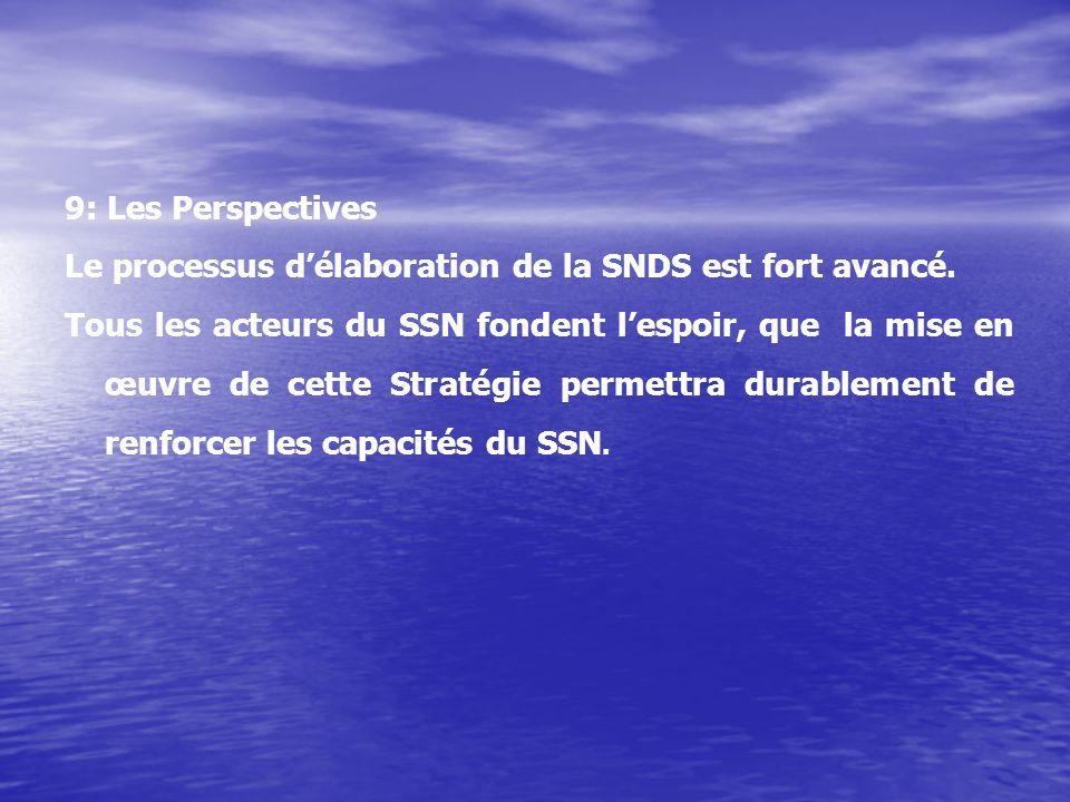 9: Les Perspectives Le processus délaboration de la SNDS est fort avancé.