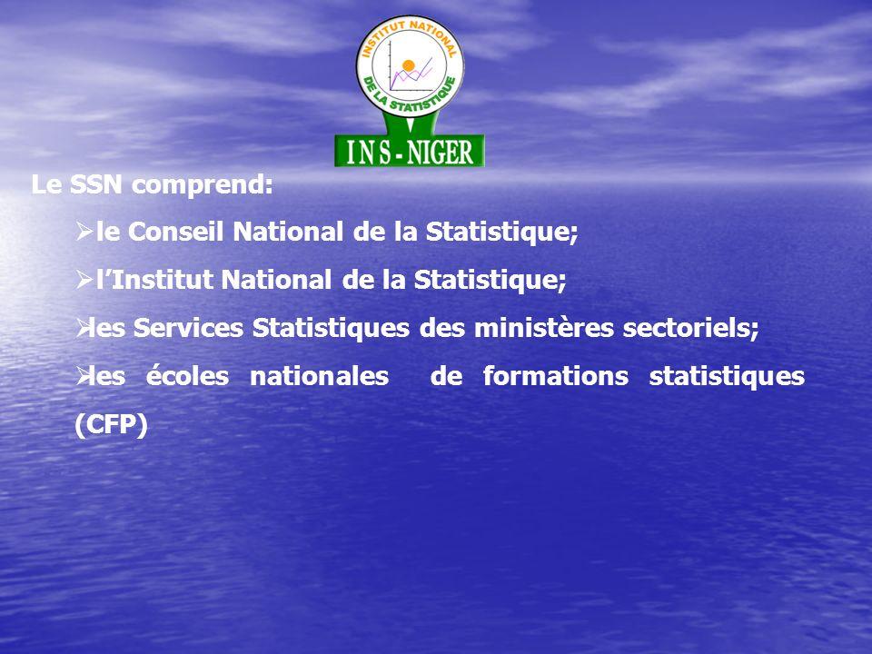 Le SSN comprend: le Conseil National de la Statistique; lInstitut National de la Statistique; les Services Statistiques des ministères sectoriels; les écoles nationales de formations statistiques (CFP)