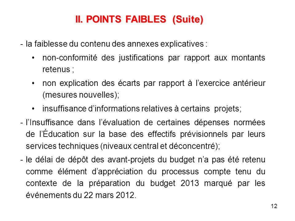12 -la faiblesse du contenu des annexes explicatives : non-conformité des justifications par rapport aux montants retenus ; non explication des écarts