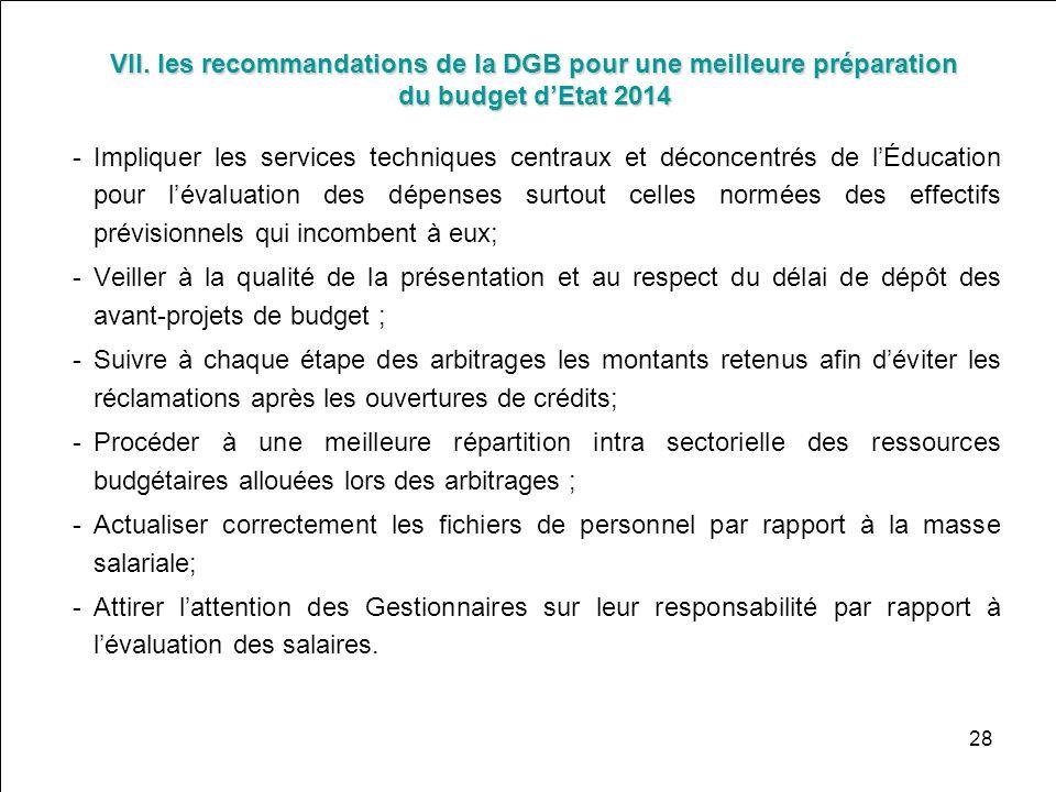 28 VII. les recommandations de la DGB pour une meilleure préparation du budget dEtat 2014 -Impliquer les services techniques centraux et déconcentrés
