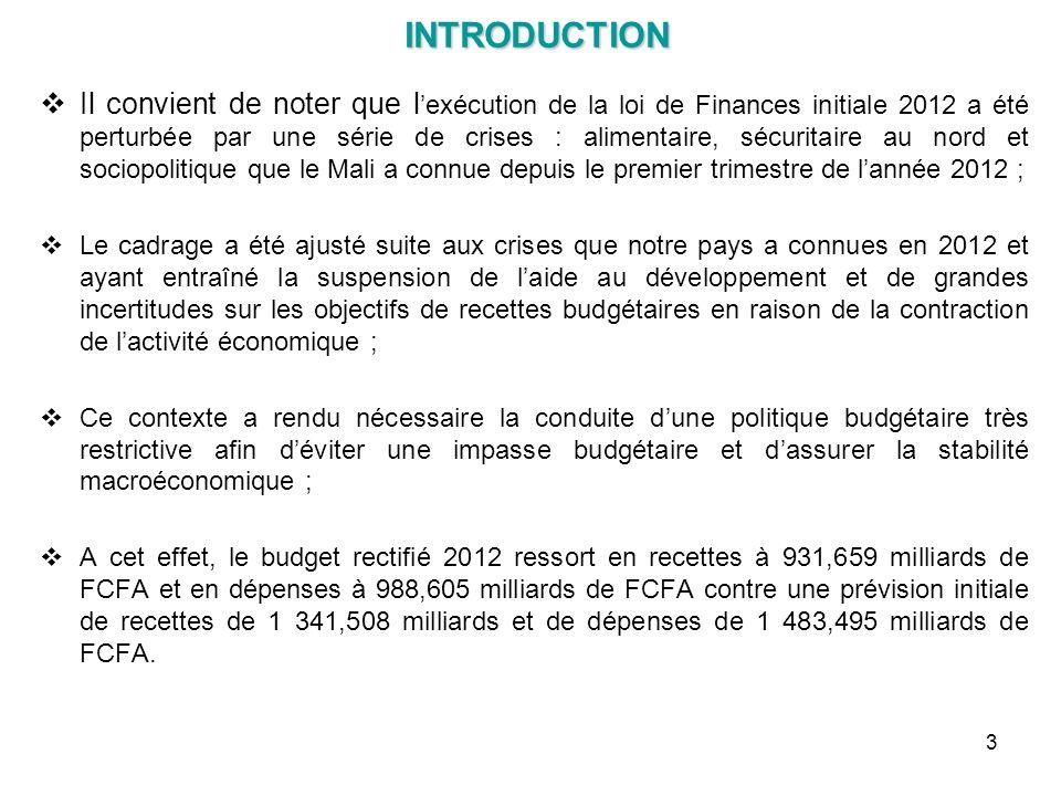 INTRODUCTION INTRODUCTION Il convient de noter que l exécution de la loi de Finances initiale 2012 a été perturbée par une série de crises : alimentai