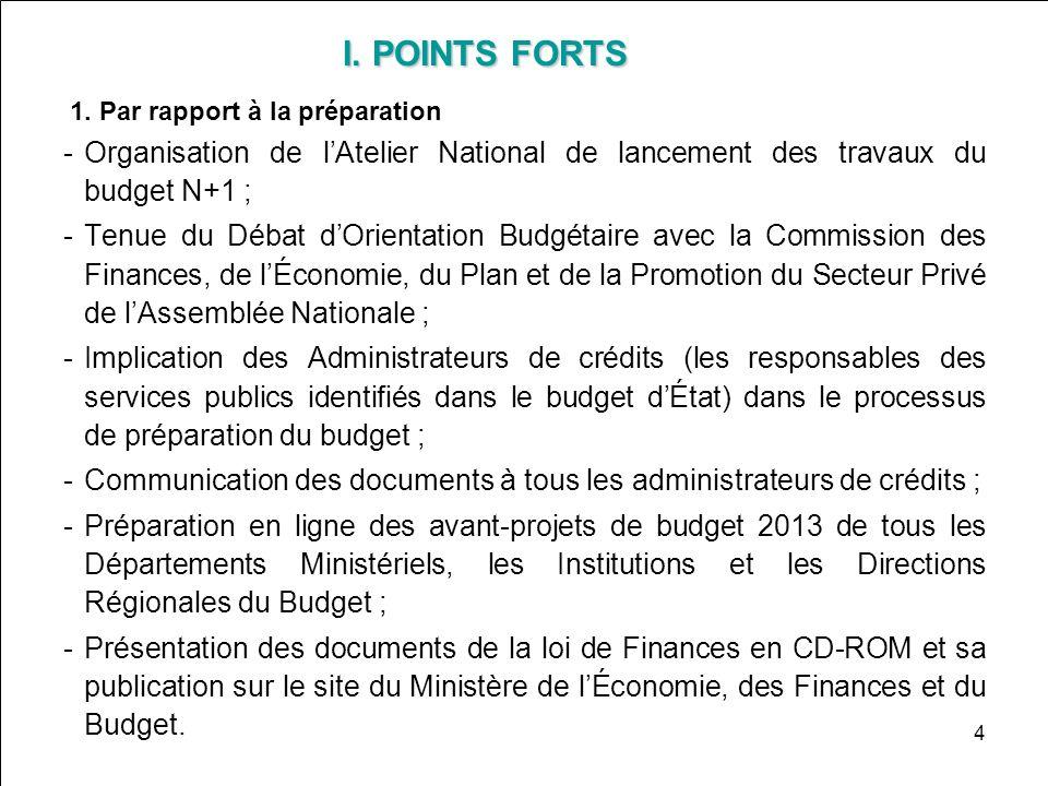 I. POINTS FORTS I. POINTS FORTS 1. Par rapport à la préparation Organisation de lAtelier National de lancement des travaux du budget N+1 ; Tenue du
