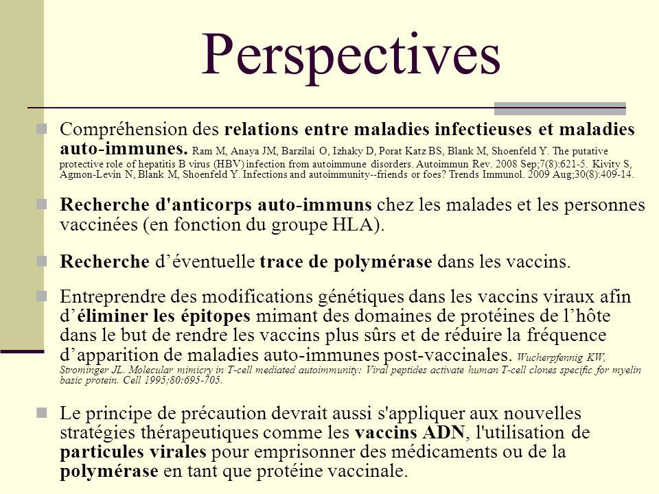 Perspectives Compréhension des relations entre maladies infectieuses et maladies auto-immunes. Ram M, Anaya JM, Barzilai O, Izhaky D, Porat Katz BS, B
