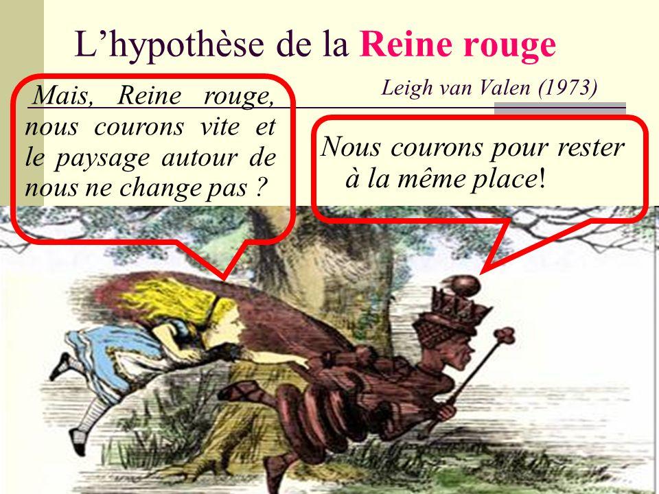 Lhypothèse de la Reine rouge Leigh van Valen (1973) Nous courons pour rester à la même place! Mais, Reine rouge, nous courons vite et le paysage autou