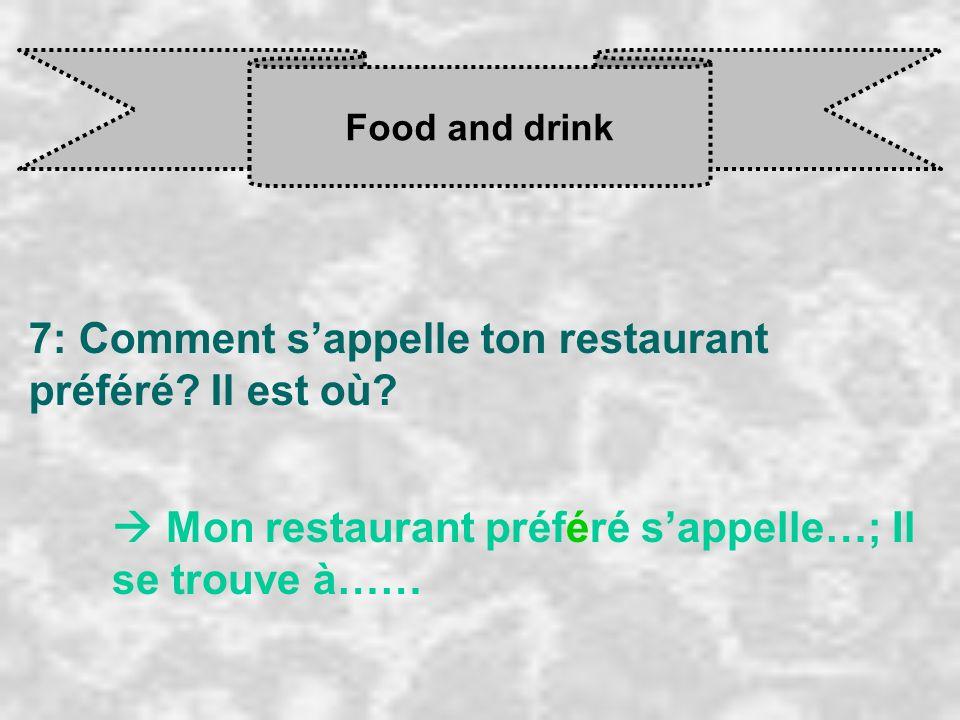 Food and drink 7: Comment sappelle ton restaurant préféré? Il est où? Mon restaurant préféré s appelle…; Il se trouve à……