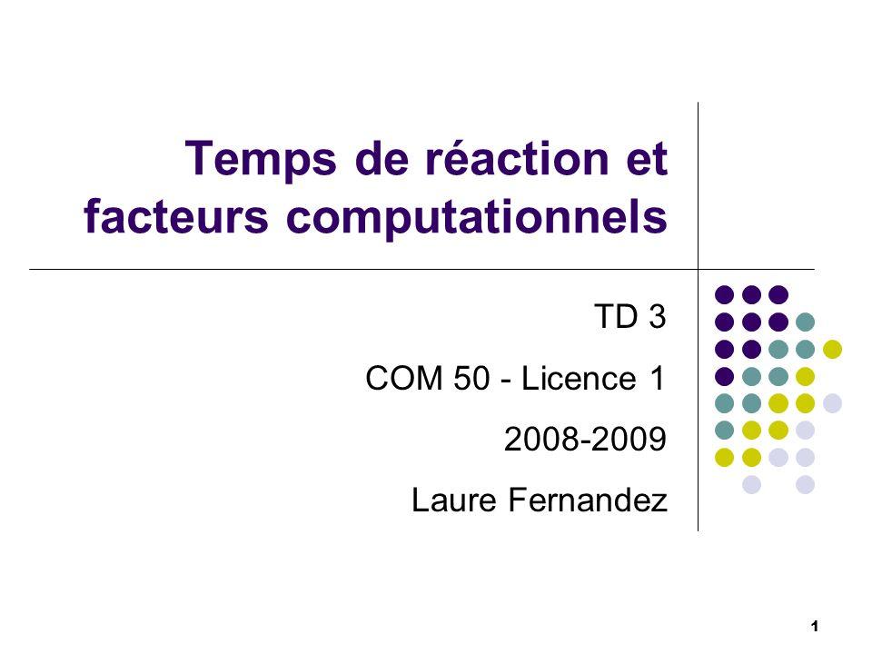 Plan de cours 1) Le temps de réaction (TR) 2) Facteurs computationnels influençant le TR 3) Opérations cognitives 4) Autres facteurs 5) TR simple et de choix (cf., CM) 2