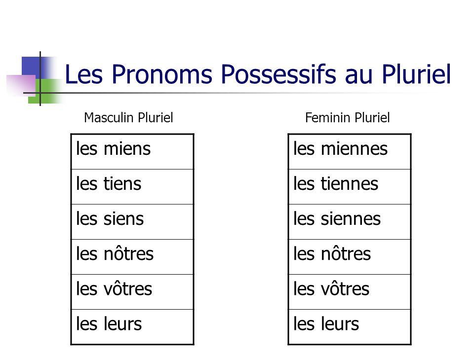 Les Pronoms Possessifs au Pluriel les miennes les tiennes les siennes les nôtres les vôtres les leurs Feminin Pluriel les miens les tiens les siens le