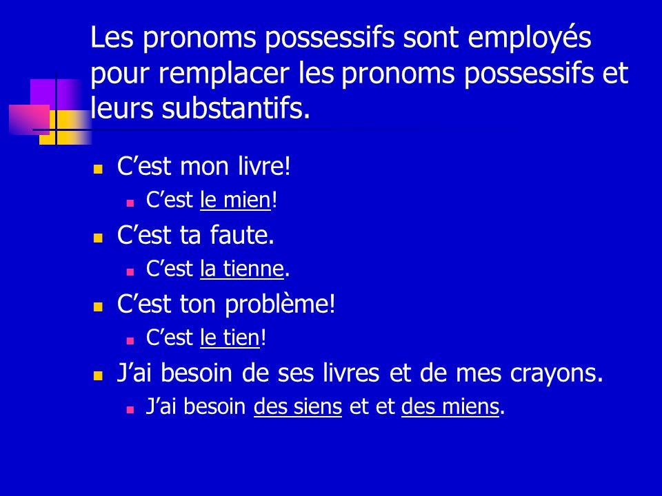 Les pronoms possessifs sont employés pour remplacer les pronoms possessifs et leurs substantifs. Cest mon livre! Cest le mien! Cest ta faute. Cest la