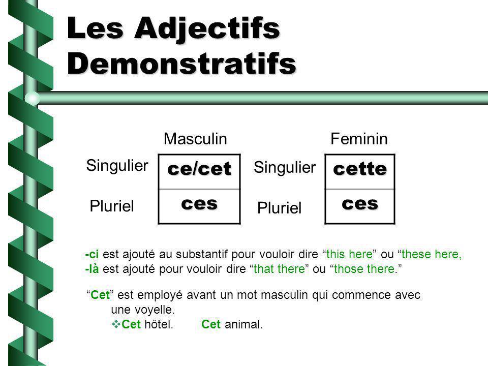 Les Adjectifs Demonstratifs ce/cet ces Singulier Pluriel Masculincetteces Feminin Singulier Pluriel -ci est ajouté au substantif pour vouloir dire thi
