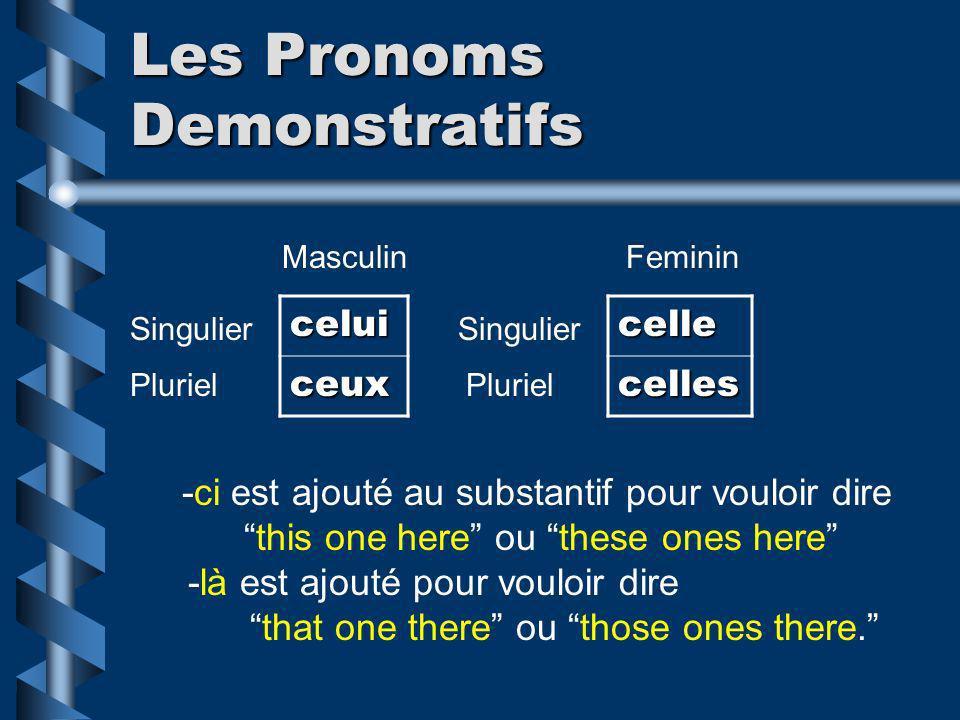 Les Pronoms Demonstratifs celui ceuxcellecelles MasculinFeminin Singulier Pluriel -ci est ajouté au substantif pour vouloir dire this one here ou thes