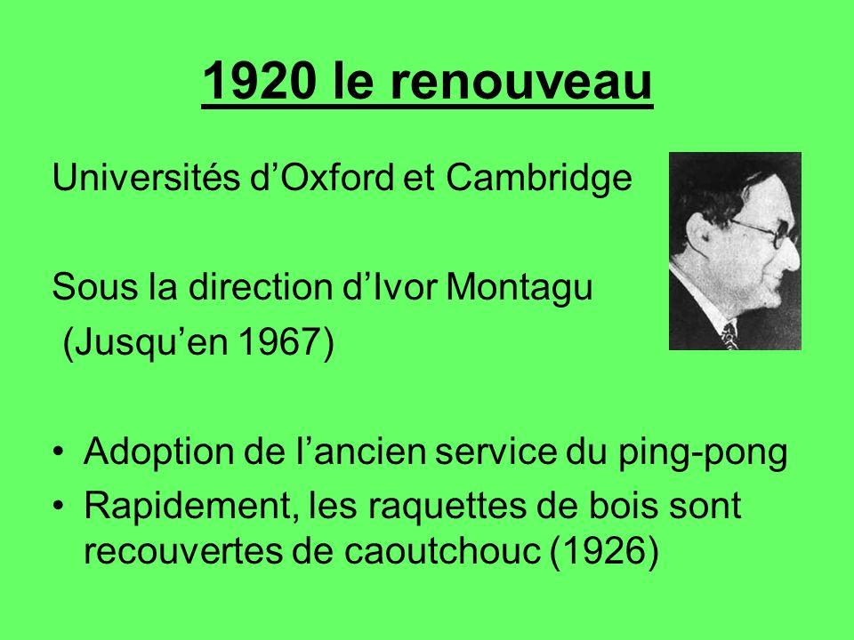 1920 le renouveau Universités dOxford et Cambridge Sous la direction dIvor Montagu (Jusquen 1967) Adoption de lancien service du ping-pong Rapidement,