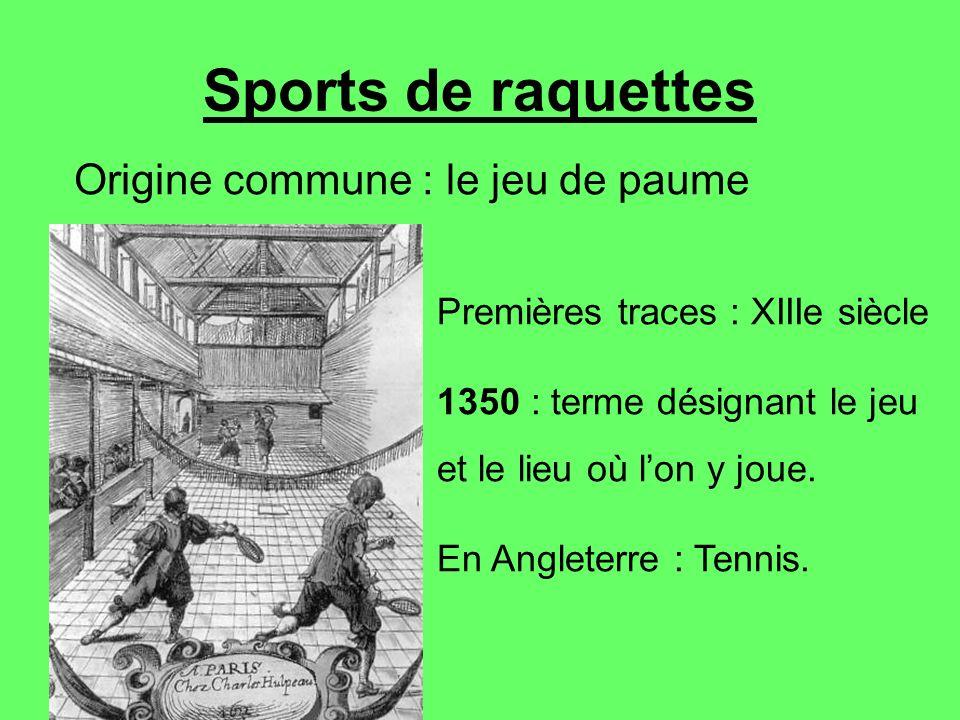 Sports de raquettes Origine commune : le jeu de paume Premières traces : XIIIe siècle 1350 : terme désignant le jeu et le lieu où lon y joue. En Angle