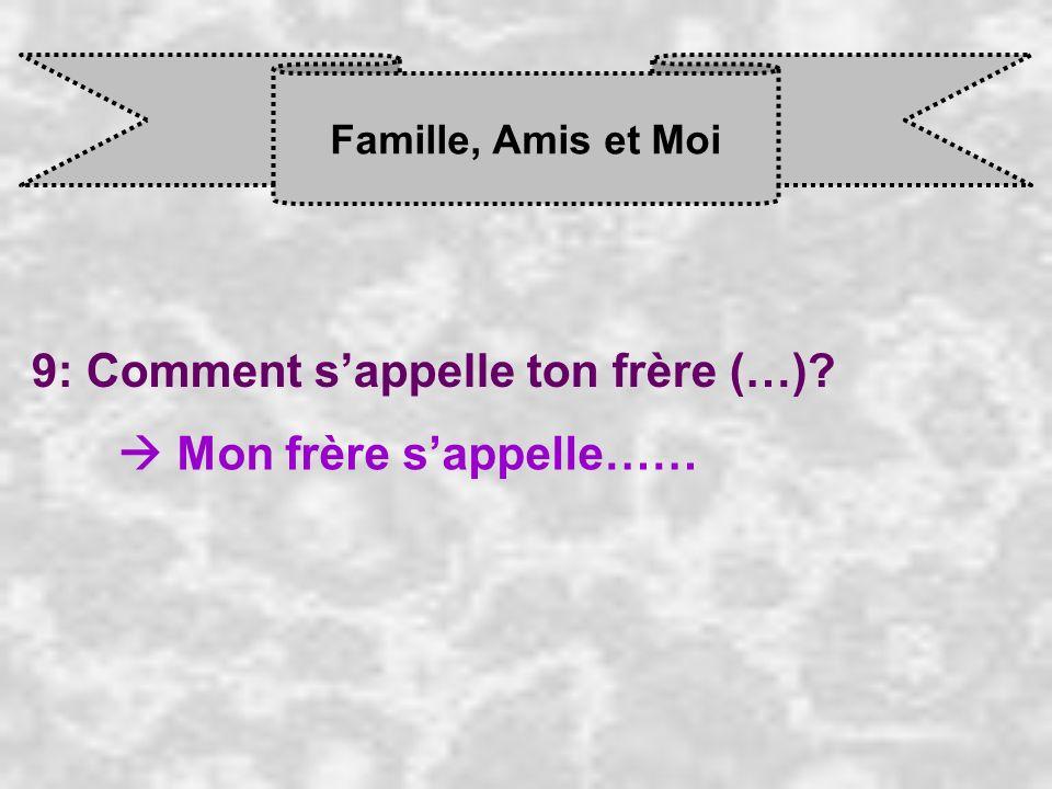 Famille, Amis et Moi 9: Comment sappelle ton frère (…)? Mon frère s appelle……