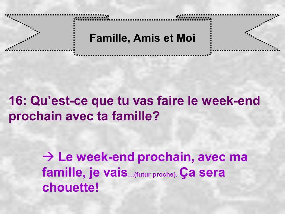Famille, Amis et Moi 16: Quest-ce que tu vas faire le week-end prochain avec ta famille? Le week-end prochain, avec ma famille, je vais …(futur proche
