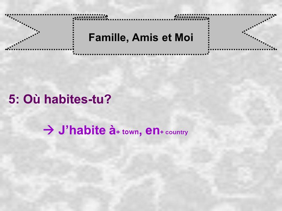 Famille, Amis et Moi 5: Où habites-tu? J habite à + town, en + country