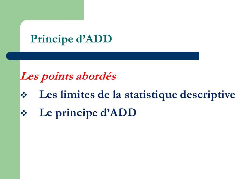 Principe dADD Les points abordés Les limites de la statistique descriptive Le principe dADD