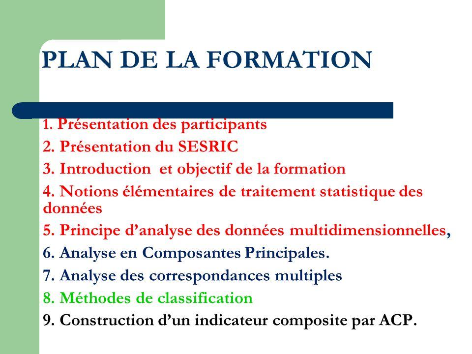 PLAN DE LA FORMATION 1. Présentation des participants 2. Présentation du SESRIC 3. Introduction et objectif de la formation 4. Notions élémentaires de