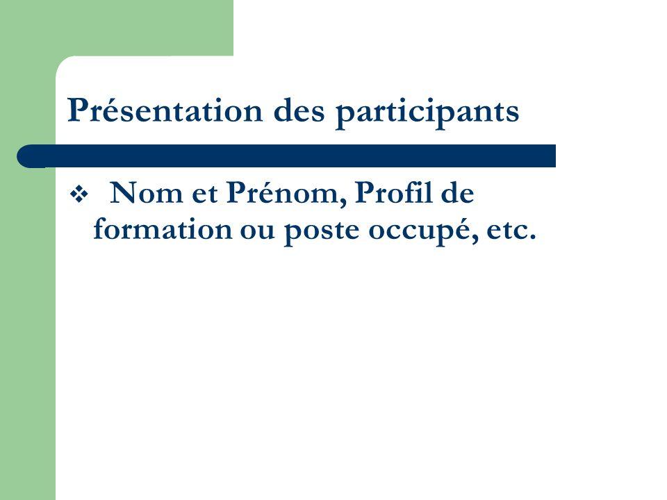 Présentation des participants Nom et Prénom, Profil de formation ou poste occupé, etc.
