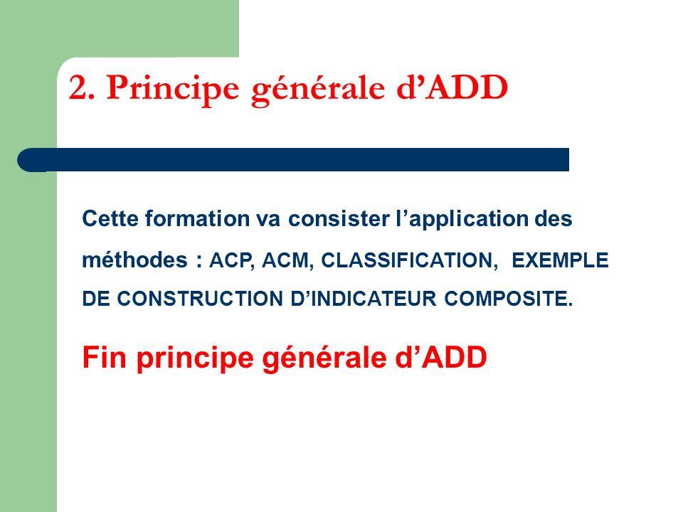 2. Principe générale dADD Cette formation va consister lapplication des méthodes : ACP, ACM, CLASSIFICATION, EXEMPLE DE CONSTRUCTION DINDICATEUR COMPO