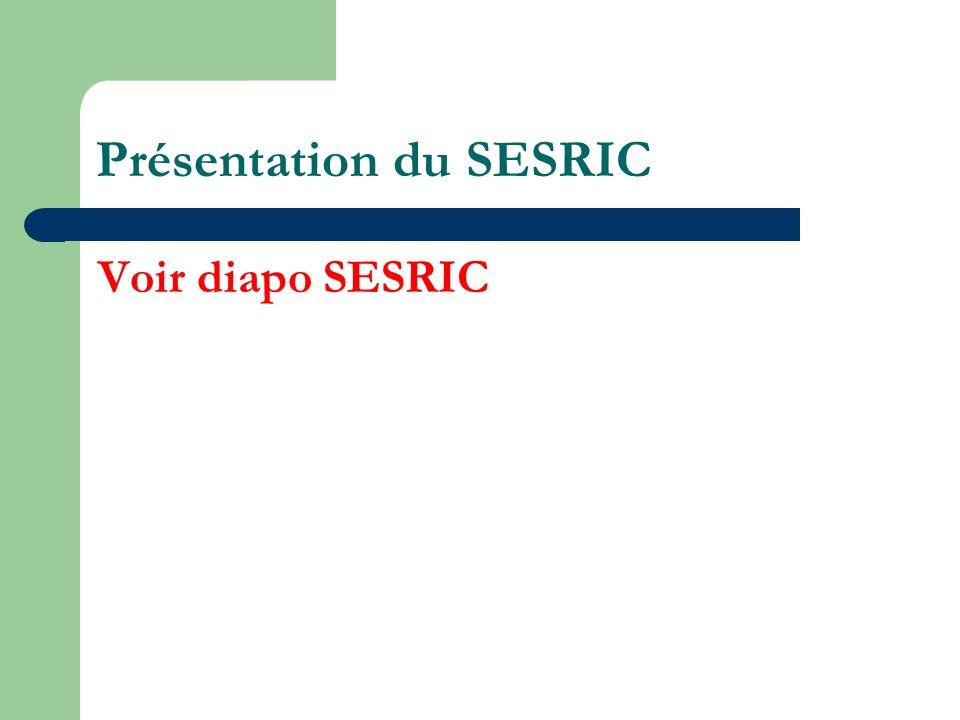 Présentation du SESRIC Voir diapo SESRIC