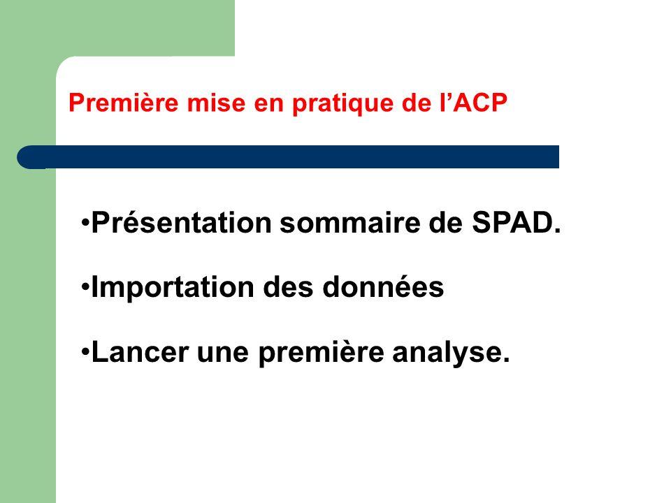 Première mise en pratique de lACP Présentation sommaire de SPAD. Importation des données Lancer une première analyse.