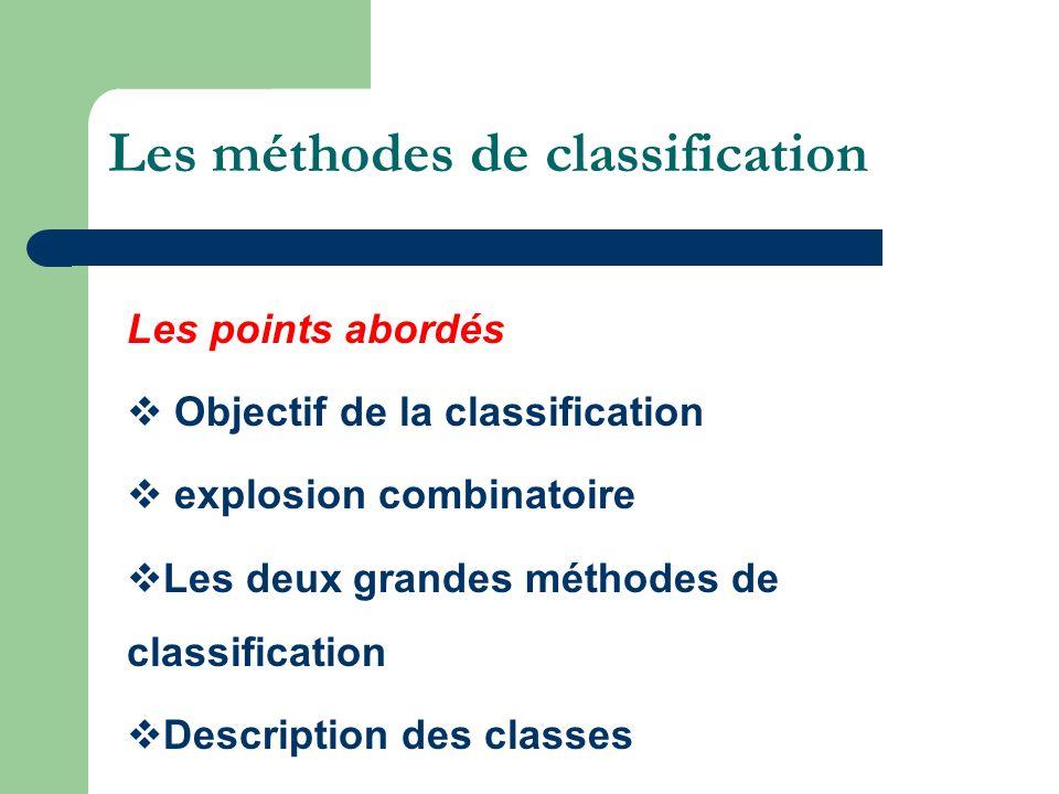 Les méthodes de classification Les points abordés Objectif de la classification explosion combinatoire Les deux grandes méthodes de classification Des