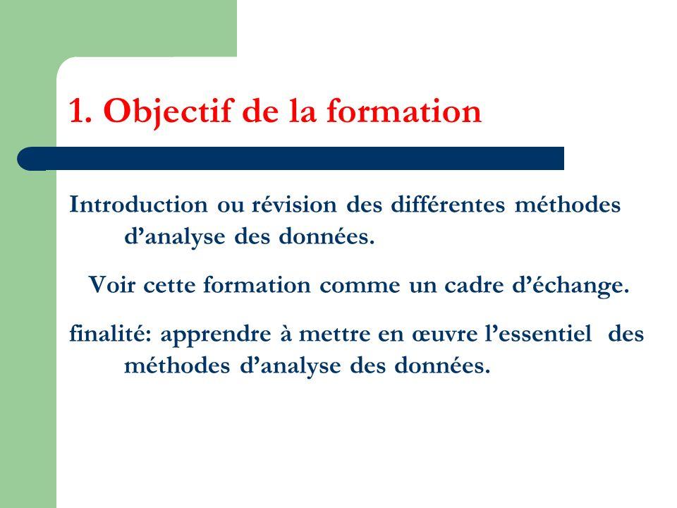 1. Objectif de la formation Introduction ou révision des différentes méthodes danalyse des données. Voir cette formation comme un cadre déchange. fina