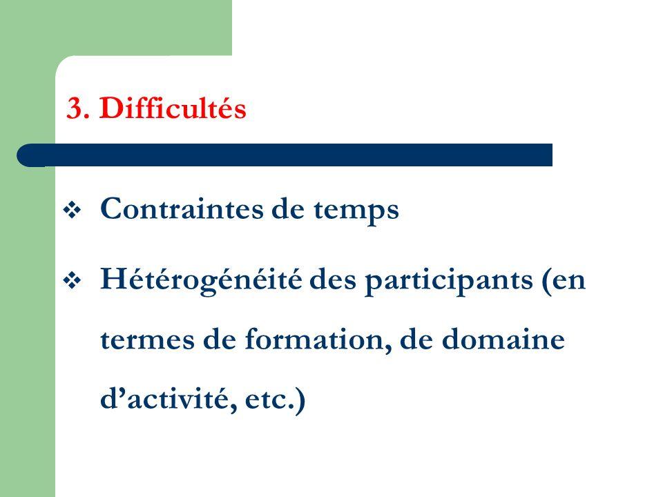 3. Difficultés Contraintes de temps Hétérogénéité des participants (en termes de formation, de domaine dactivité, etc.)